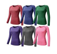 Women O Neck T Shirt Fitness Yoga Tee Top Slim Fit Quick Dry Long Sleeve Running