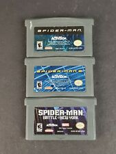 Lot of 3 Spider-Man 1 2 Battle New York Game Boy Advance Games Authentic Saves