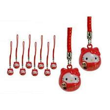LOT of 10 HELLO KITTY BRASS BELL CHARM Lucky Fortune Daruma Red Cell Phone Strap