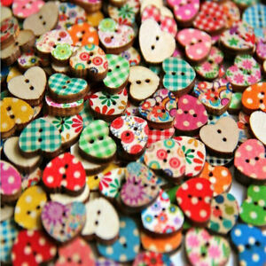 100 Pcs Mixed 2Holes Wooden Buttons Cartoon Print Heart Shaped-Scrapbo T7Y