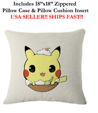 "NEW 18x18 18"" 18in CUTE KIDS CHILDREN POKEMON PIKA Throw Zippered Pillow Cushion"