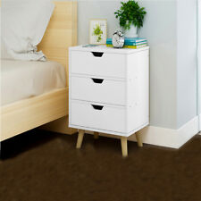 Bedside Table Cabinets Unit Nightstand 3 Drawers White Bedroom Home Furniture UK