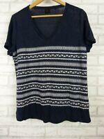 David Lawrence t-shirt top blouse v neck navy blue white embroidered trim size L