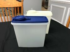 2 Tupperware 469 Cereal Storage Keeper Container w/ Flip Seal lid Blue & shear