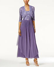 R&M Richards Sequined Lace Belted Gown and Jacket Lavender Size 10 $129