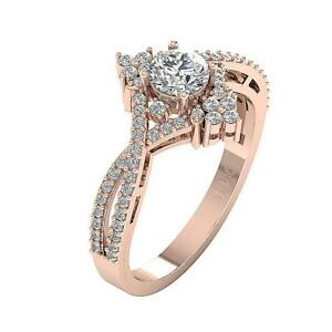 SI1 G 0.90 Ct Natural Round Diamond Solitaire Engagement Ring 14K Rose Gold