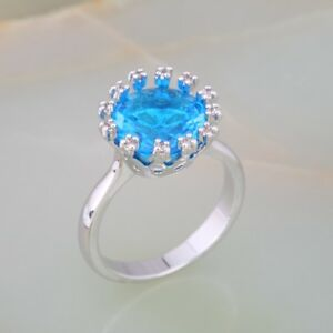 Ladies Blue Topaz 18ct White Gold GF Party Gift Engagement Ring Size 6-7-8-9