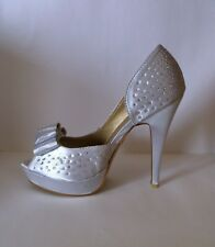 Silver/White diamante encrusted court shoes, LYDC, UK size 5