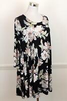Karen Kane Womens M Dress Romantic Floral Stretch Knit Shift A Line USA Made