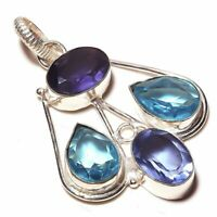 Pocketfriendly Fresh Green ite and Topaz Quartz Handmade Jewelry Sterling Silver Plated Pendant 2.25 Long