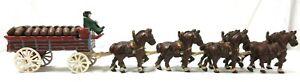 CAST IRON WAGON &  8 HORSES