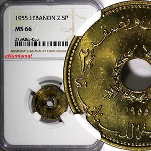 Lebanon Aluminium-Bronze 1955 2 1/2 Piastres NGC MS66 Monnaie de Paris KM# 20