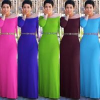 Women's Sexy Slim Maxi Dress Lady Bodycon Off Shoulder Evening Ball Gown Dresses
