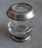 """Vintage 1920s Frank M Whiting Sterling Silver Glass Toothpick Holder 3"""" Tall"""