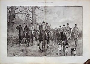 "FOXHOUND FOX HUNTING HOUND HORSE ANTIQUE DOG ART PRINT - 1892 ""The Oakley Hunt"""