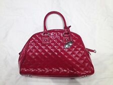 TALBOTS Red Patent Quilted LEATHER Hand Bag Handbag Satchel White piping