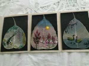 Hand painted in Oil Indian Skeleton PIPAL Leaf art painting, bird & nature, lot