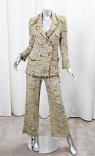 CHANEL BOUTIQUE Womens Yellow Tweed Blazer Jacket+Flare Pant Suit Outfit 36/4