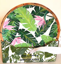 Tommy Bahama  PALM LEAVES & BIRD OF PARADISE FLOWERS APPETIZER PLATES.  SET OF 4