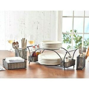 4 Piece Deluxe Party Buffet Caddy Dinner Plate & Cutlery Holder Partyware New