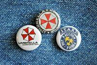 "Resident Evil Raccoon Umbrella Corporation Buttons Pins Badge 1"" pinback Horror"