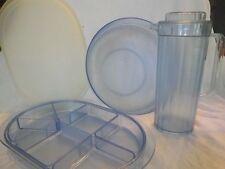 Tupperware~Preludio Watercolor BLUE Acrylic~6 Qt Salad Bowl~ Pitcher~Serving Ctr