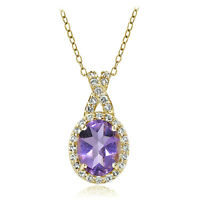 Yellow Gold Flashed Sterling Silver  Amethyst & White Topaz Oval and X Necklace