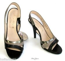 ROBERT CLERGERIE - SANDALS HEELS BLACK LEATHER TAUPE GREY 6.5B 38 MINT