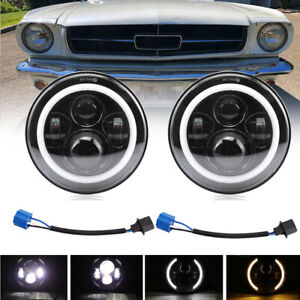 "For Ford Mustang 1965-1978 7"" INCH Black LED Headlight Halo Angel Eye Ring Pair"