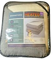 Microplush w Sherpa Heated ELECTRIC BLANKET 2 Controllers Biddeford F/Q Gray