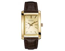 Bulova Men's Quartz Gold-Tone Dial Brown Leather Strap 46mm Watch 97A112