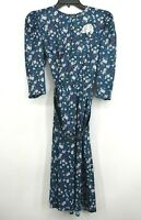 Tabby California Womens Overall Floral Print Puffed Sleeve Button Front Dress 6