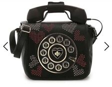 NWT Betsey Johnson Kitsch Call Me Baby Telephone Bag Silver&Red Crystal Stud ❤️