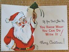 Vintage Christmas Card UNUSED Funny Novo Laugh Santa Has A Little Something 4 U
