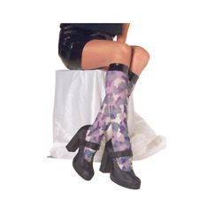 Ladies Knee High Camouflage Tights Womens Fancy Dress Purple Green Stockings T3