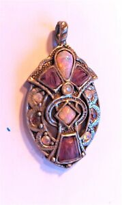 Vintage Miracle Pendant Necklace, Scottish, Amethyst & opal Glass, signed
