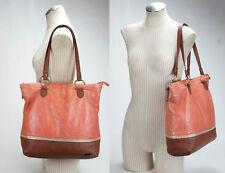 THE SAK Pink Salmon / Brown Leather Tote Shopper Shoulder Bag