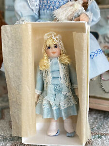 Vintage Artisan Miniature Dollhouse Signed Sculpted Clay Blonde Doll in Gift Box