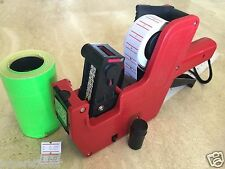 US Seller MX-5500 8 Digits Price Tag Gun Labeler + 2000 Green Tags labels +1 Ink