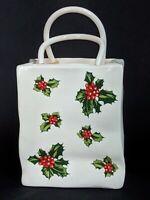 Vintage LEFTON Napco Porcelain Christmas Shopping Bag Vase, Planter - Japan