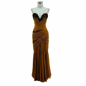 B5 MANDALAY Dress Size 10 Medium Brown Solid Sequin Formal Maxi Strapless