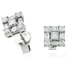 1.00ct F VS Diamond Square Shape Earrings for Pierced Ears in 18ct White Gold