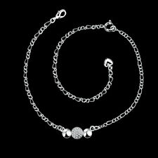 "European Fashion 925Sterling Silver Zircon Simple And Noble  Anklets 12"" SPA029"