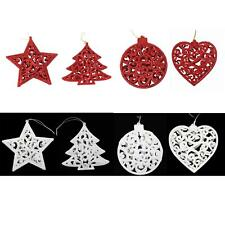 Christmas Tree Hanging Decorations - Set of 4 Glitter - Choose Colour