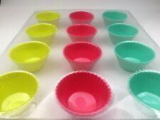 12 casos de silicona circular para hornear Moldes Molde de cocción Decoración de Pasteles Cupcakes