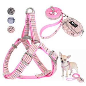 Plaid Step In Pet Harness Leash and Treat Bag Set for Small Medium Dog Cat Pink