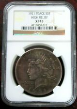 1921 P PEACE DOLLAR NGC XF 45 HIGH RELIEF KEY DATE #169  V6