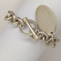 "Solid sterling silver 925 bracelet bangle Az487-36 heavy chain 7"" jewellery"