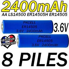 8 PILES ACCUS LITHIUM 3.6V AA ER14505 LS14500 ER14505H Li-socl2 2400Mah BATTERY