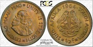 1964 SOUTH AFRICA 1/2 CENT BU PCGS MS65 COLOR TONED ONLY 1 GRADED HIGHER